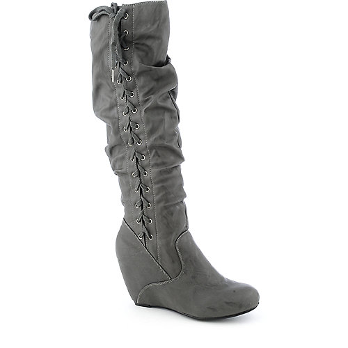 Bamboo Noel-02 womens knee-high wedge boot