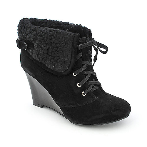 Bamboo Tanya-19 womens fur ankle wedge boot