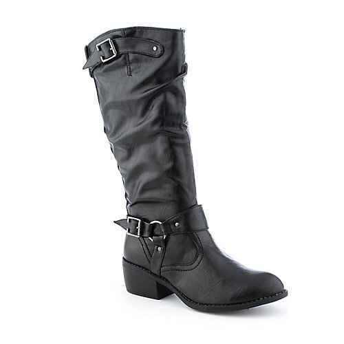 Bamboo Whitney-02 womens riding low heel mid-calf boot
