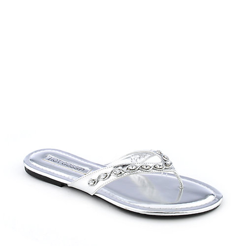 Hot Gossip Audra-16 womens jeweled flat thong flip flop sandal