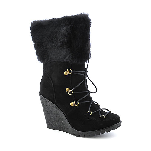 Bamboo Liberate-14 Womens mid-calf wedge fur boot