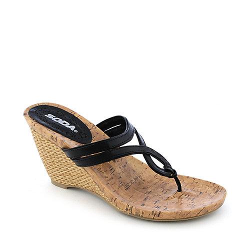 389d1486c6d94b Soda Salsa-H womens thong high heel espadrille sandal