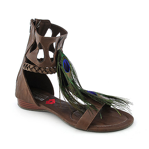 Red Kiss Feather-F7 womens flat exotic gladiator sandal