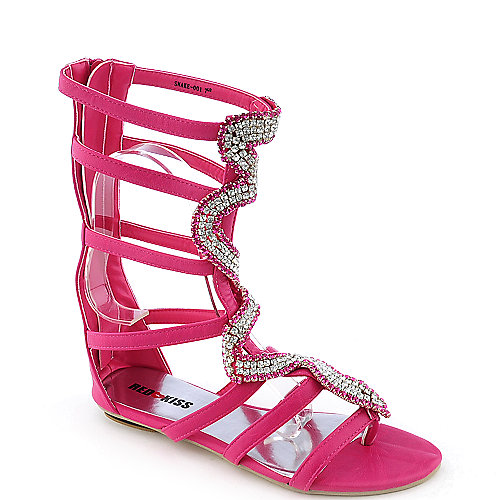 Red Kiss Lola-E7 Womens jeweled flat gladiator sandal