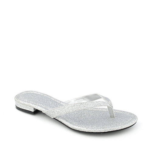 Shiekh Stacy-28 womens glitter thong flip flop low heel sandal