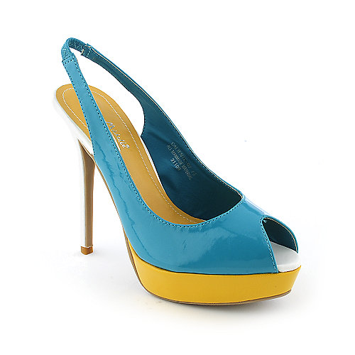 Anne Michelle Caliente-07 womens dress color block slingback platform high heel