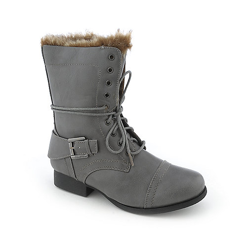 Shiekh Womens Jetta-09B grey fur combat boot