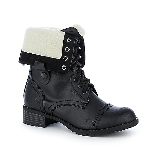 Shiekh Womens B-XL0098 black fold over fur combat boot