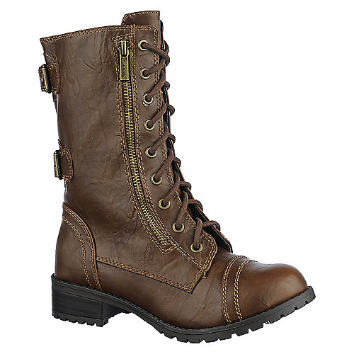 Soda Womens Dome-H brown military lace up combat boot