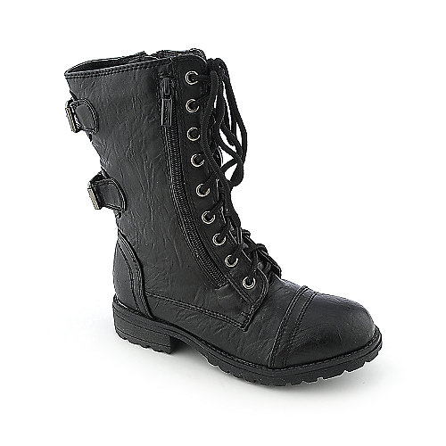 Shiekh Kids Dome-IIS black low heel combat boot