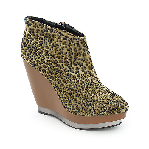 Promise Cheeky womens platform wedge animal print ankle boot