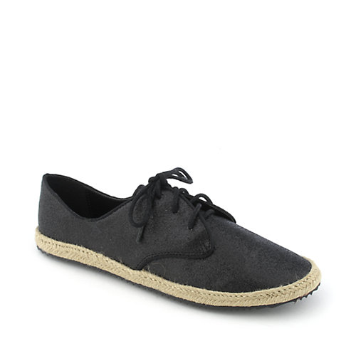 Promise Kicks womens casual glitter espadrille lace-up flat