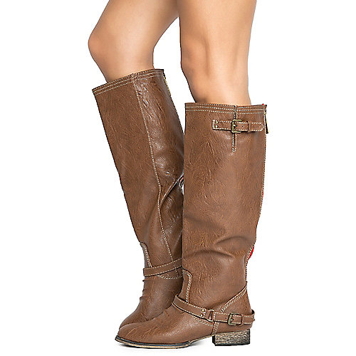 Shiekh Outlaw-81 Women's Dark Tan Riding Boot | Shiekh Shoes