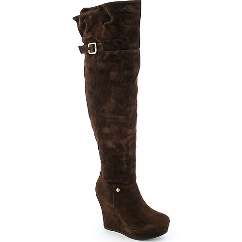 Bamboo Ceasar-02N womens thigh-high platform wedge boot