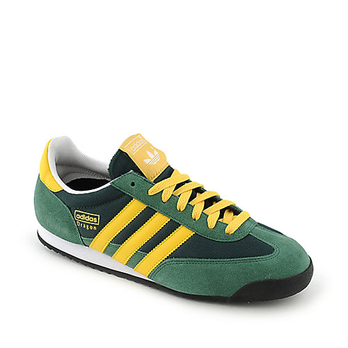 Adidas Mens Dragon green and yellow athletic training sneaker
