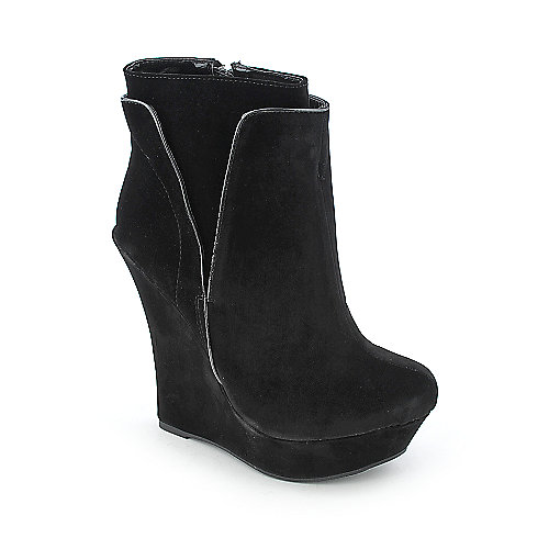 women's black platform ankle boots with high heel