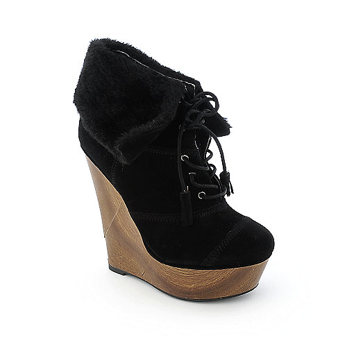 Shiekh Steffy-004 womens ankle platform wedge fur boot