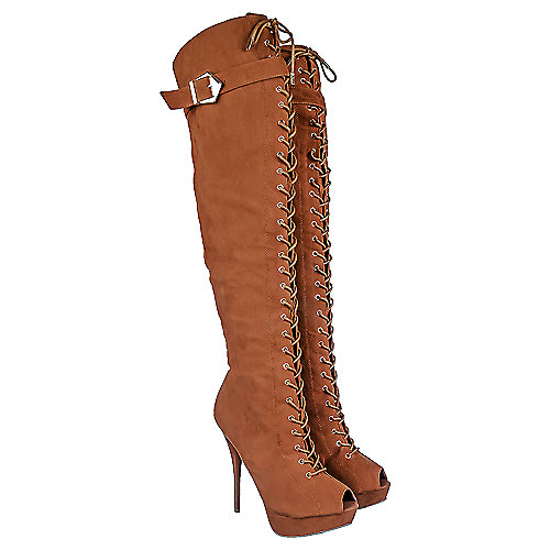 Shiekh Womens Wissper tan knee high platform high heel boot