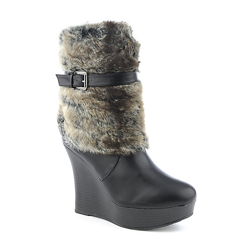 Bamboo Ceasar-29 womens wedge platform fur mid-calf boot