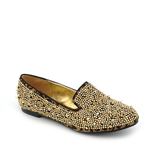 Shiekh Shiekh Spiked Flat womens casual animal print slip-on flat