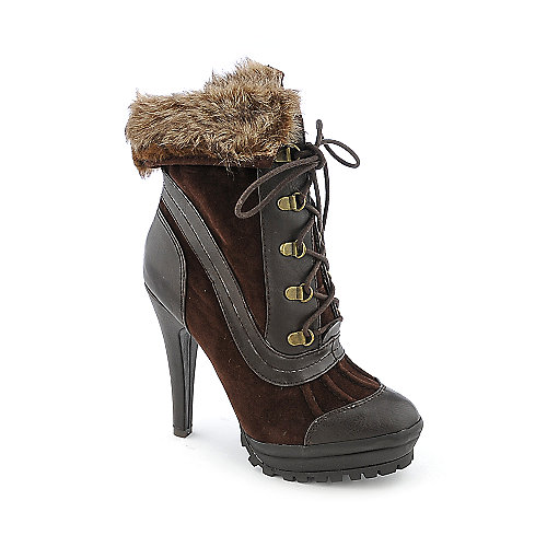 Anne Michelle Wildcat-03 womens fur trim boot