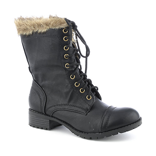 Soda Kalia-S womens fur low heel mid-calf boot