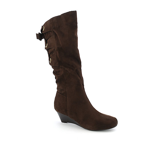 Bamboo Trisha-01 womens low wedge boot