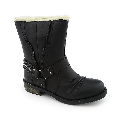 Yoki Piper womens low heel fur mid-calf riding boot