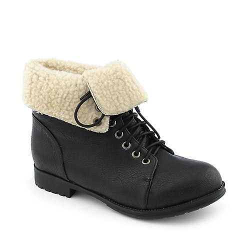 Yoki Wanda womens low heel fur ankle boot