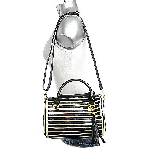 Nila Anthony Black Stripes Satchel shoulder bag