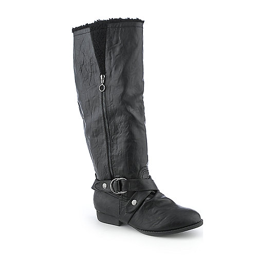 Soda Unique-S womens low heel knee-high fur western/riding boot