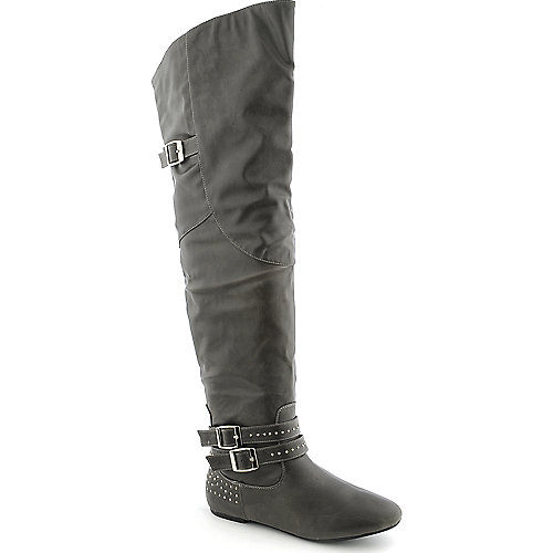 Bamboo Sunkiss-02 womens grey studded boot