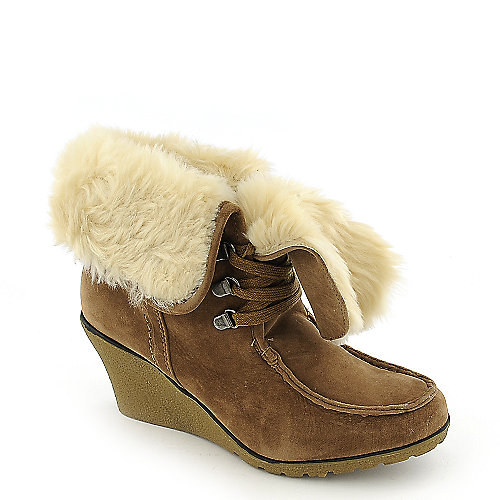 Bamboo Marlyn-03 womens fur ankle wedge boot