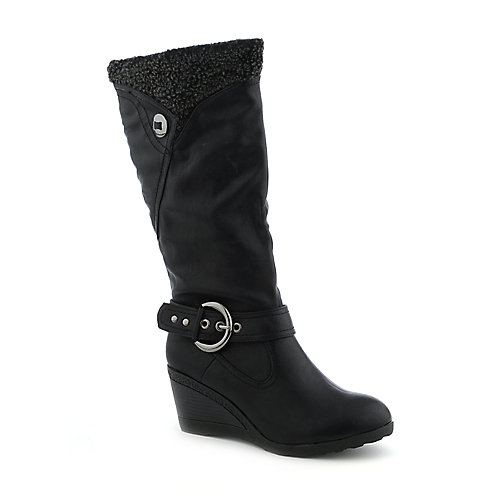 Soda Sizzle-S womens fur mid-calf wedge boot