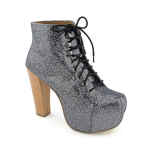 Promise Beacon womens high heel platform glitter ankle boot
