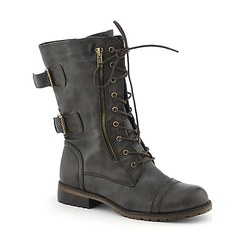Nature Breeze Lug-12 womens mid-calf low heel military/combat boot