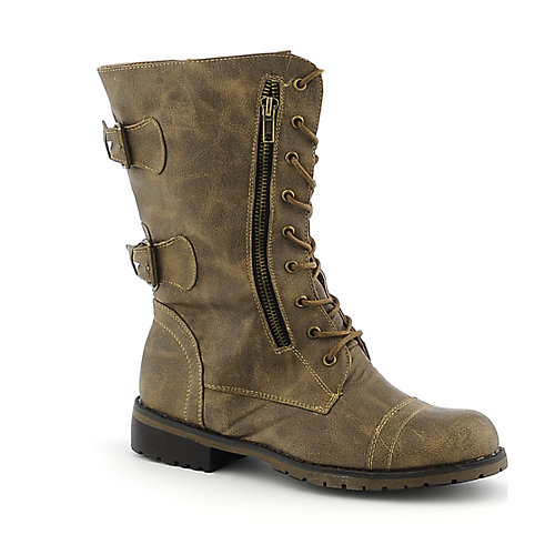 womens mid-calf low heel combat boots