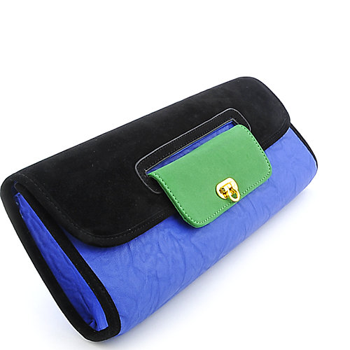 Nila Anthony Color Block Long Clutch leatherette clutch