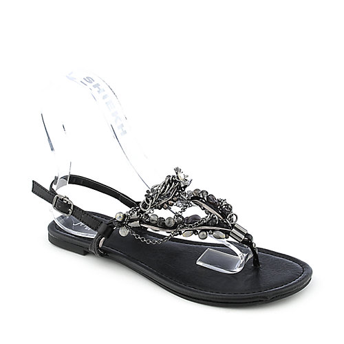 Shiekh Delroy-S womens flat jeweled slingback strappy thong sandal