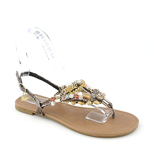 Shiekh Delroy-S womens flat jeweled exotic slingback strappy thong sandal