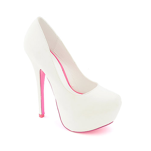 Shiekh Womens 018 White Dress High Heel Pumps