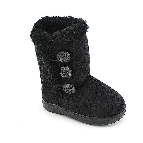 Shiekh Toddler 2282 black mid calf fur boot kids shoe