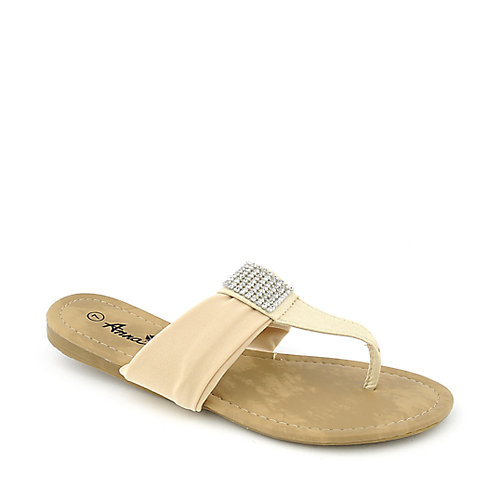Anna Jeffrey-13 womens flat thong T-strap jeweled sandal