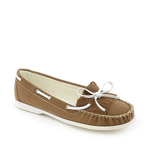 Nature Breeze Lea-02 womens slip-on flat boat shoe
