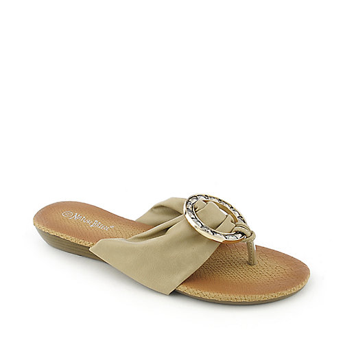Nature Breeze Tia-06 womens low wedge thong flip flop jeweled sandal