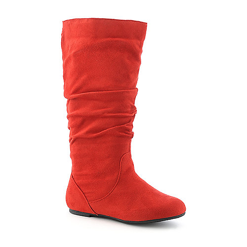 Shiekh Womens Kalisa-04 Red Mid Calf Flat Boot