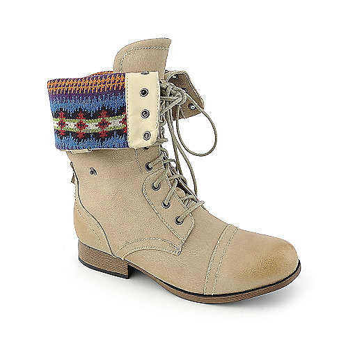 Shiekh Womens Jetta-25E natural fold over combat boot