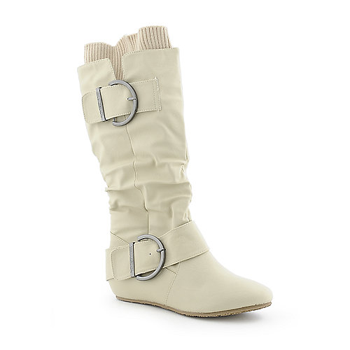 Shiekh Candies-66D white mid-calf flat knit boot