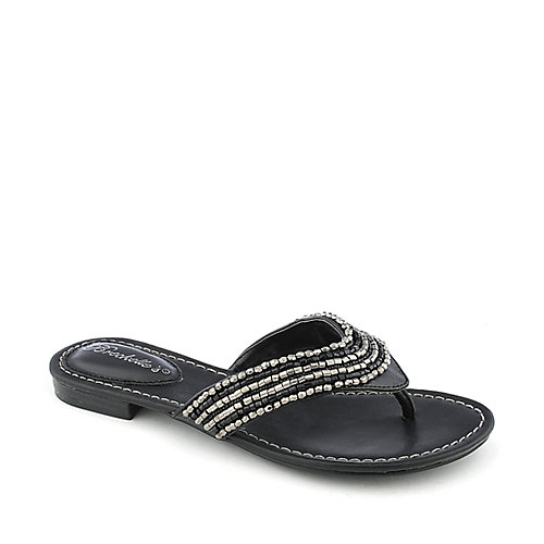 9c664e1847f8 Breckelle s Lilly-02 Women s Black Thong Sandal