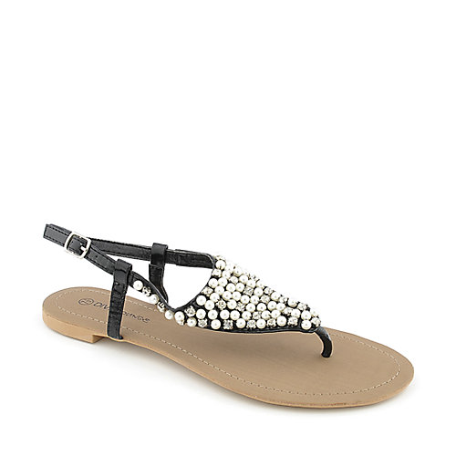 Diva Lounge Syrita-01 womens jeweled flat thong sandal